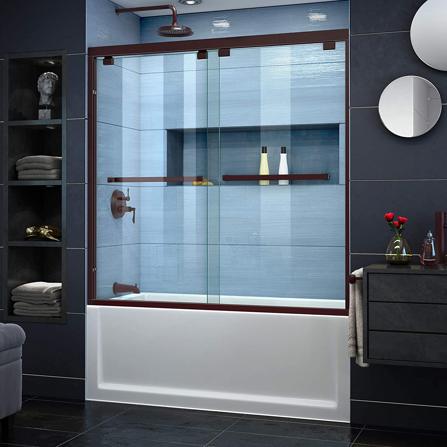 DreamLine Encore 56-60 in. W x 58 in. H Frameless Semi-Frameless Bypass Tub Door in Oil Rubbed Bronze, SHDR-1660580-06