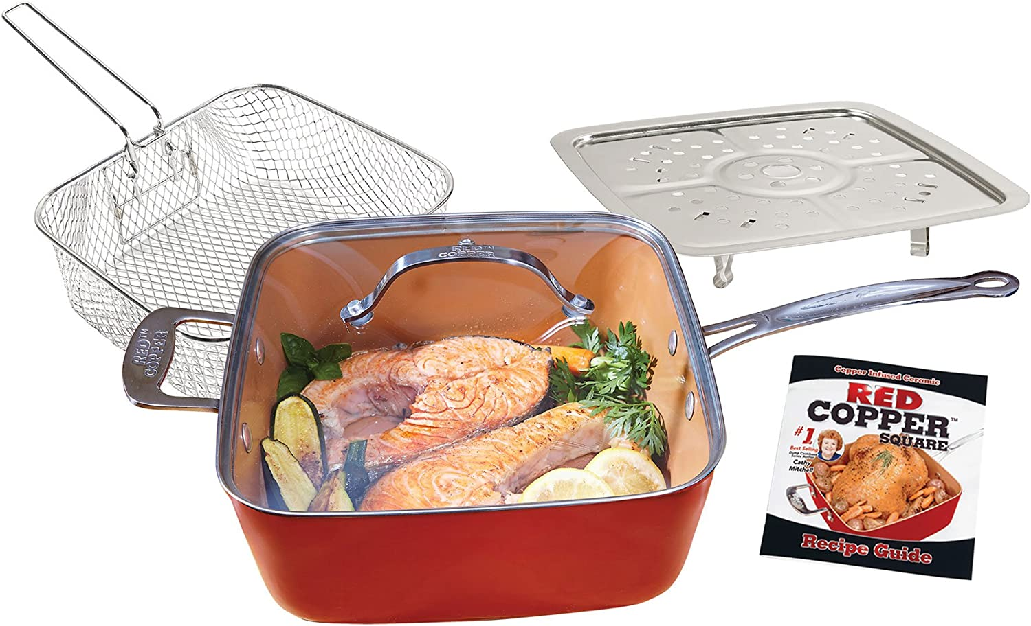 BulbHead Red Copper Square Pan 5 Piece Set