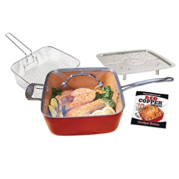 Batería de cocina de cobre de color rojo: Amazon.es: Hogar