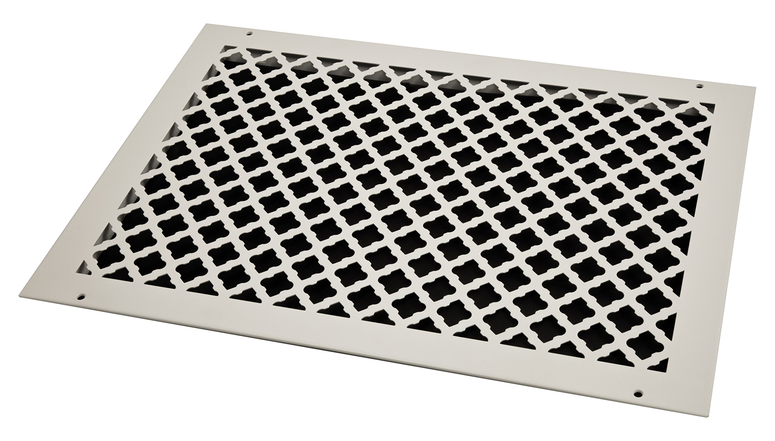 SteelCrest BTU20X14RWHH Bronze Series Designer Wall/Ceiling Vent Cover, with Mounting Screws, White