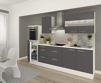 respekta Küchenleerblock 270 cm weiß Fronten Grau Hochglanz: Amazon ...