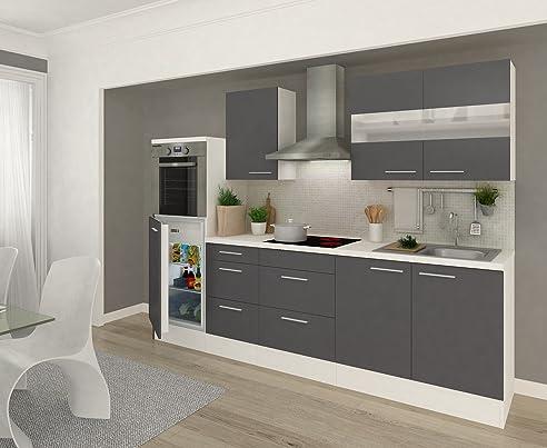 respekta Küchenleerblock 270 cm weiß Fronten Grau Hochglanz ...