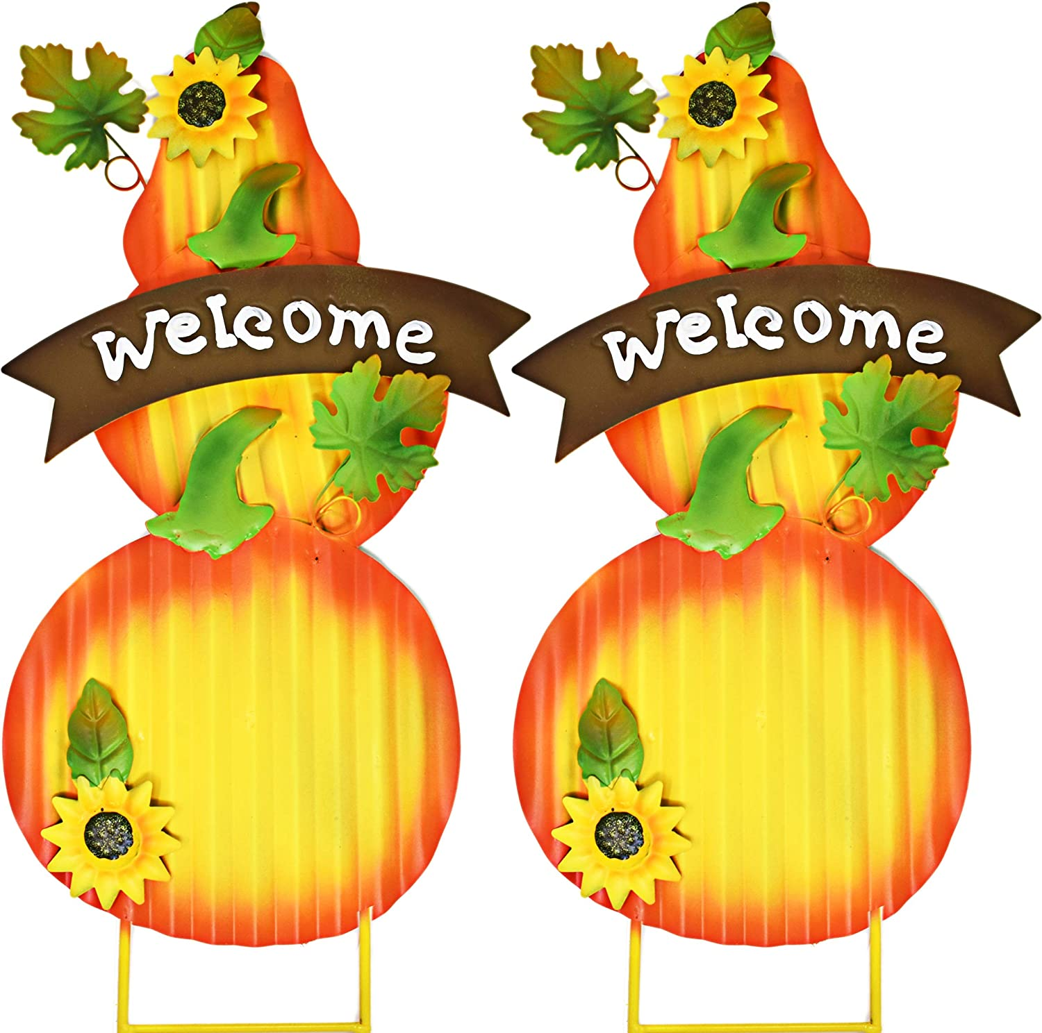 Gift Boutique Stacked Metal Thanksgiving Harvest Pumpkin Garden Stakes with Sunflowers Outdoor Yard Garden Decor , Set of 2; Thanks Giving Decoration