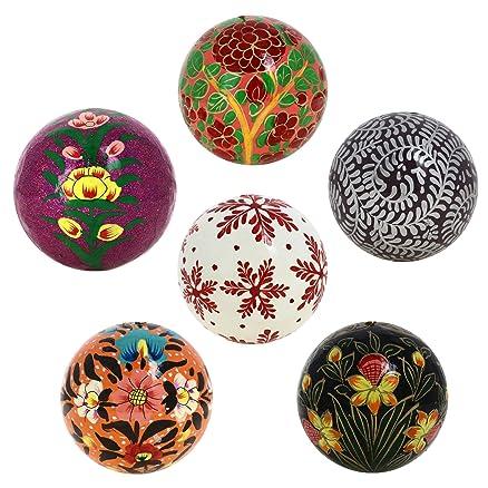 Buy handmade paper mache christmas ornament balls set of 6 handmade paper mache christmas ornament balls set of 6 handcrafted indian 3quot christmas ornaments negle Gallery