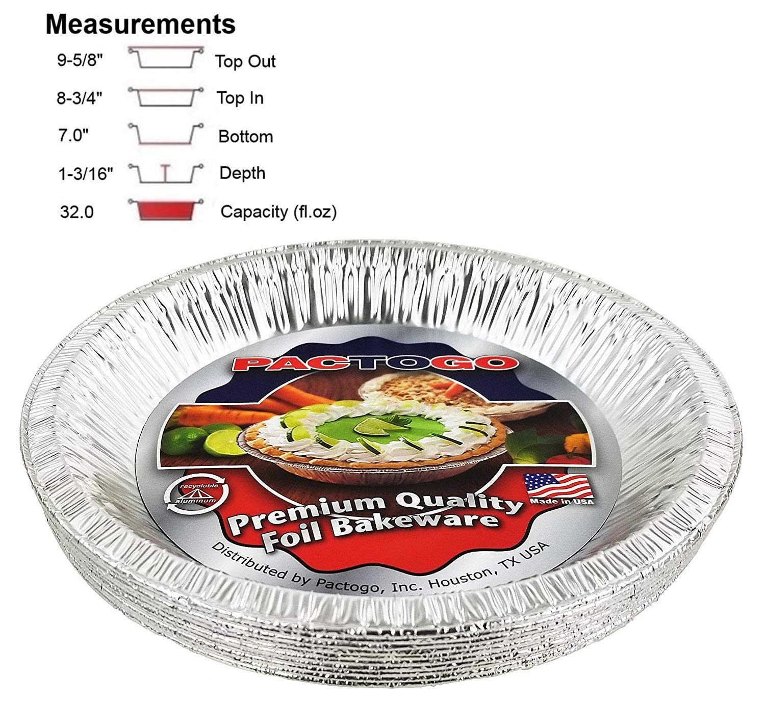 Pactogo Aluminum Foil Pie Pan (Actual Top-Out 9-5/8 Inches - Top-In 8-3/4 Inches - Vertical Depth 1-3/16 Inches) - Disposable Baking Tin Plates (Pack of 100)