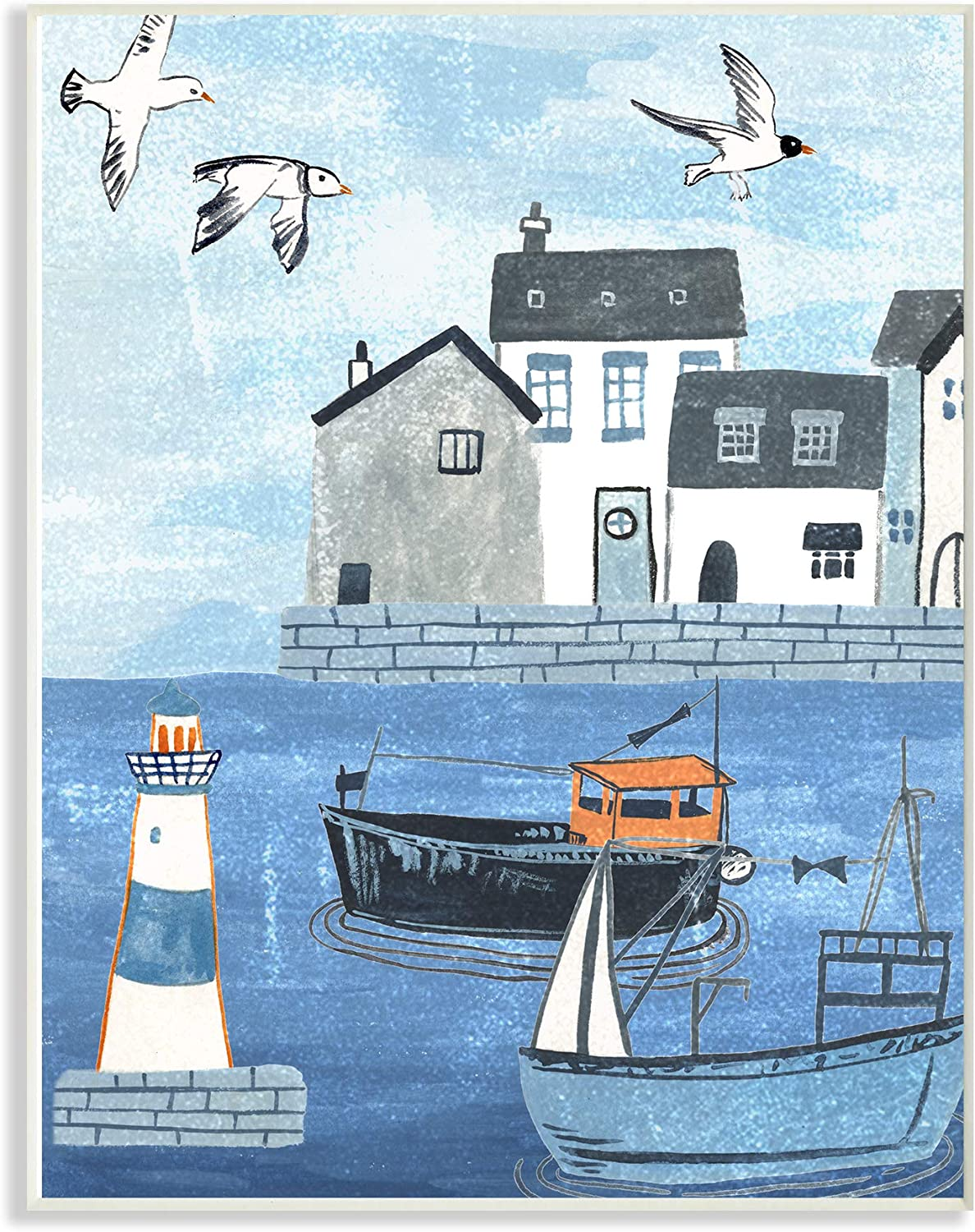The Stupell Home Decor Lighthouse Seagulls Illustrated Dock Scene Wall Plaque Art, 13 x 19, Multi-Color