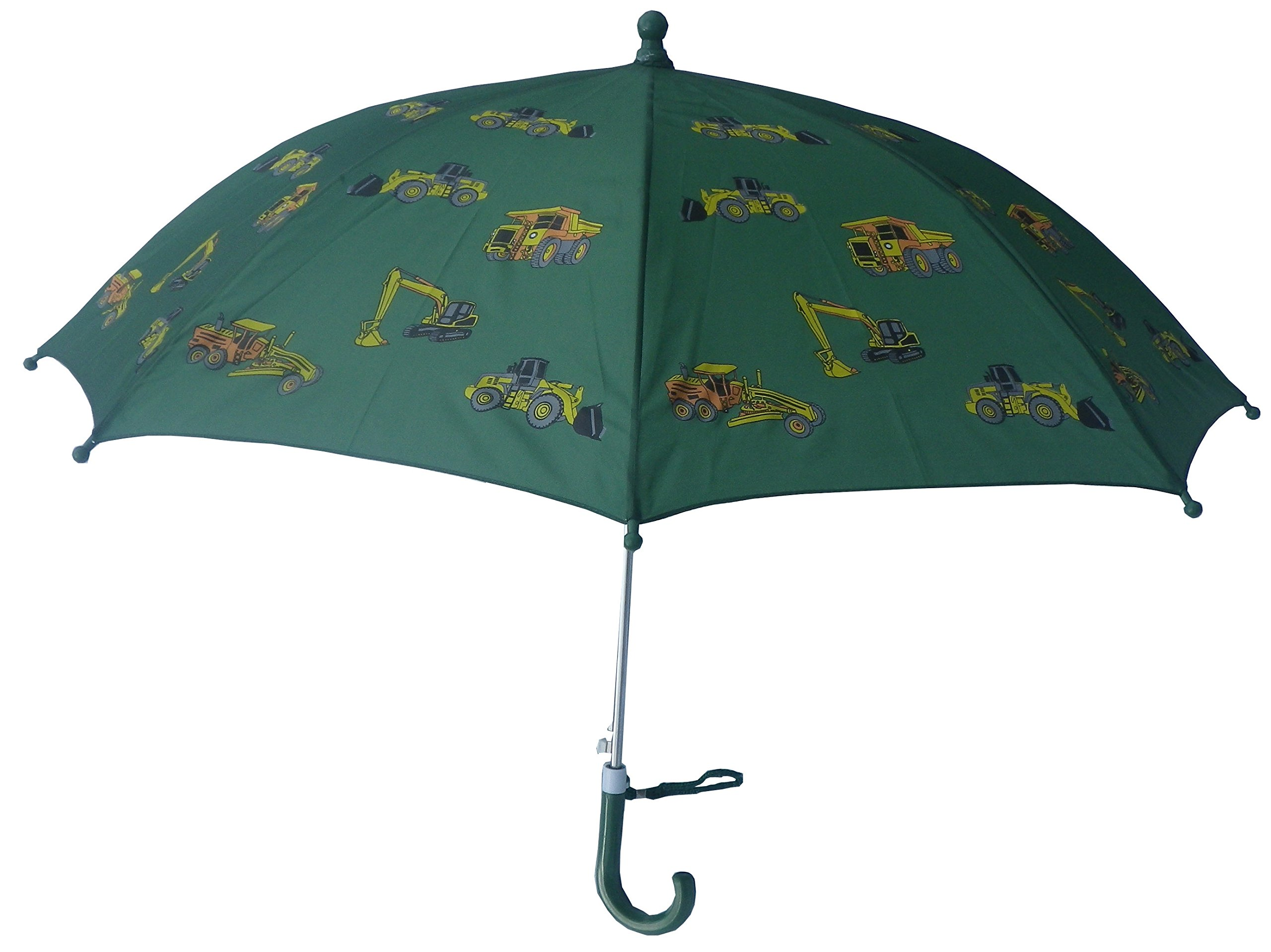 Foxfire for Kids Solid Pattern Umbrella Green Construction Equipment