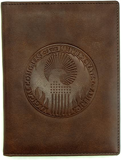 Initial Damask Genuine Leather Passport Cover Personalized