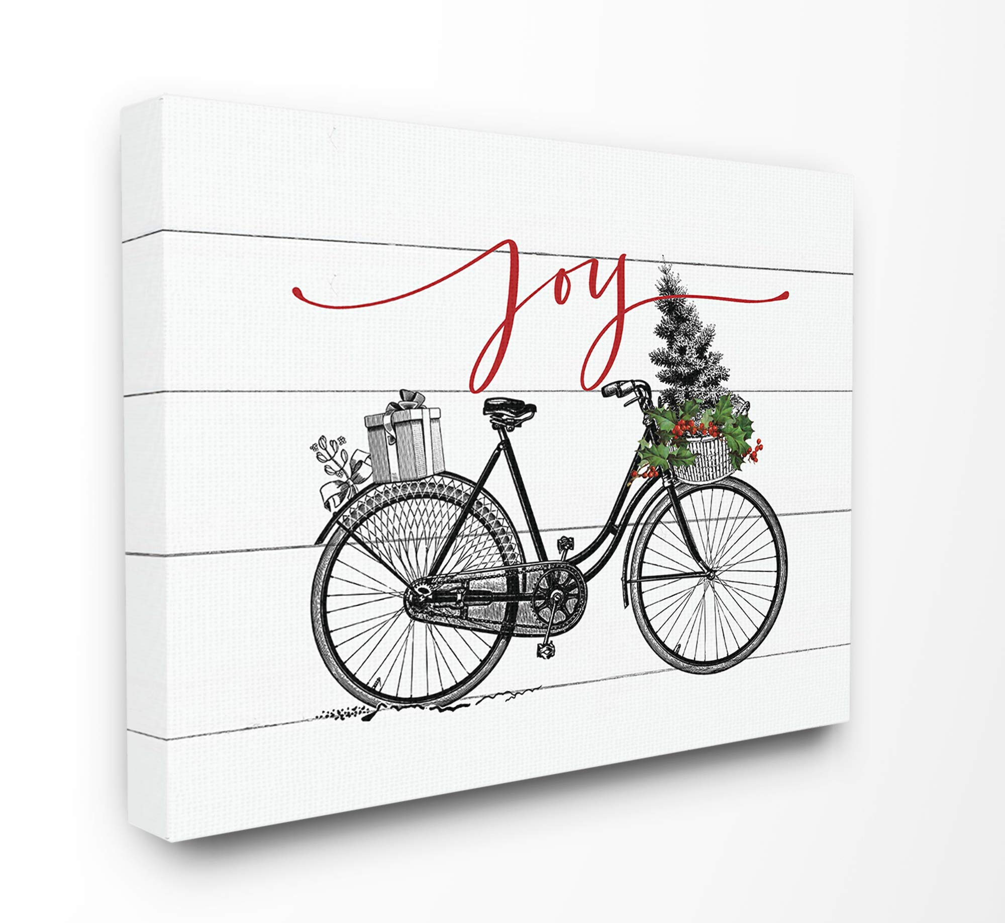 The Stupell Home Décor Collection White Planked Look Holiday Joy Bicycle with Tree and Gifts Stretched Canvas Wall Art, Multi-Color