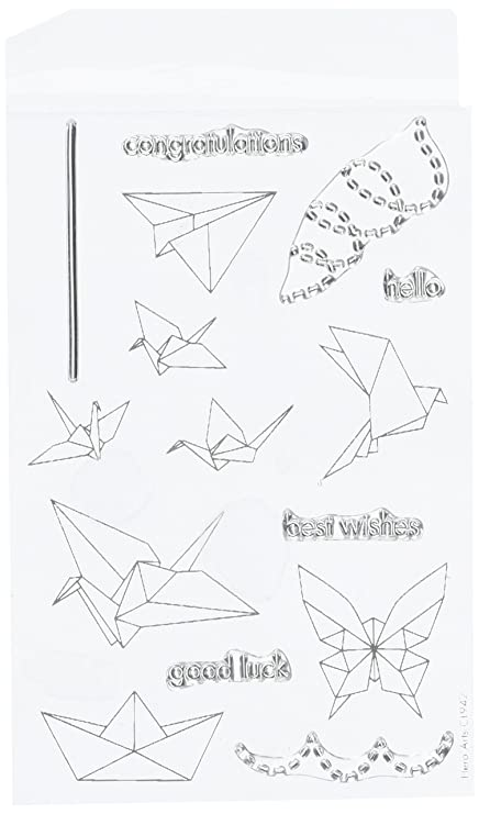 Amazoncom Hero Arts Origami Animals Rubber Stamp Arts Crafts - Origamis-animales