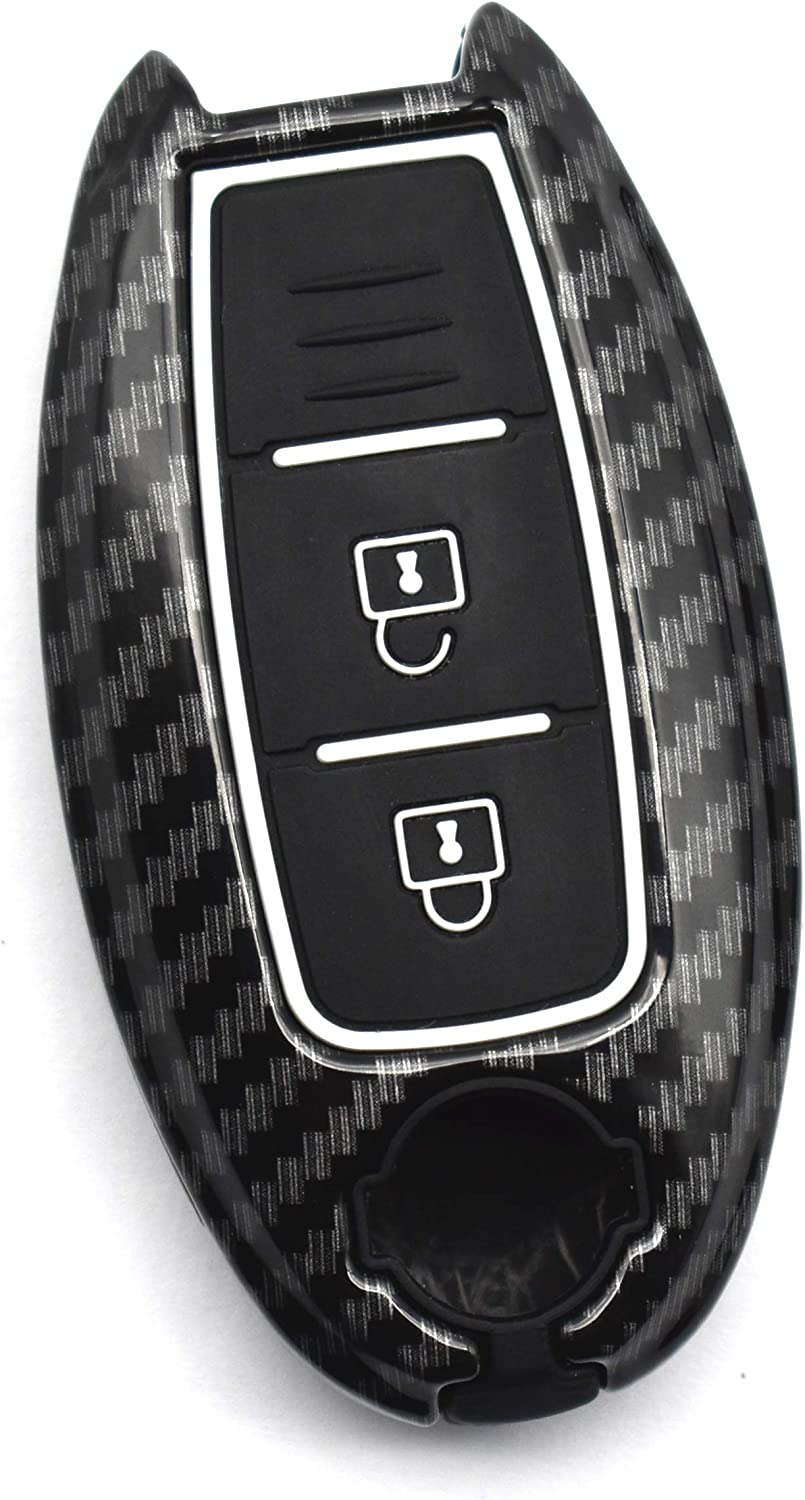 ontto 5-Button Smart Key Fob Cover Case Jacket Skin Holder Keychain Keyring Metal Silicone Key Shell Fit for Nissan Murano Maxima Lannia Qashqai Sunny Carbon Fiber Red