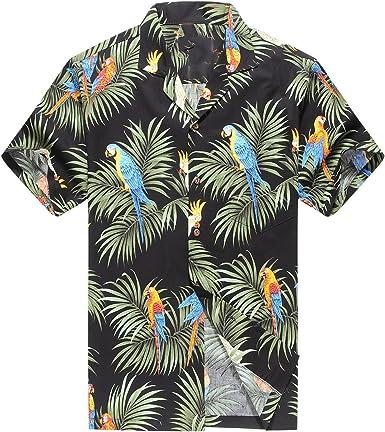 Hecho en Hawaii Camisa Hawaiana de los Hombres Camisa Hawaiana Loros y Hoja en Negro: Amazon.es: Ropa y accesorios