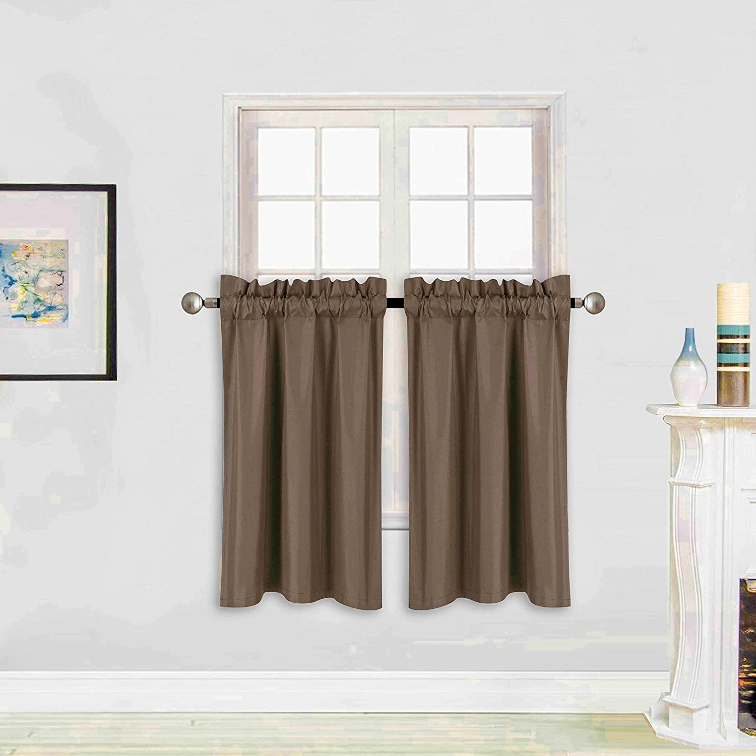 "Better Home Style 100% Blackout 2 Panels Tiers Window Treatment Curtain Insulated Drapes Short Panels for Kitchen Bathroom or Any Small Window M3036 (Brown/Coffee, 2 Panels 28"" W X 36"" L Each)"