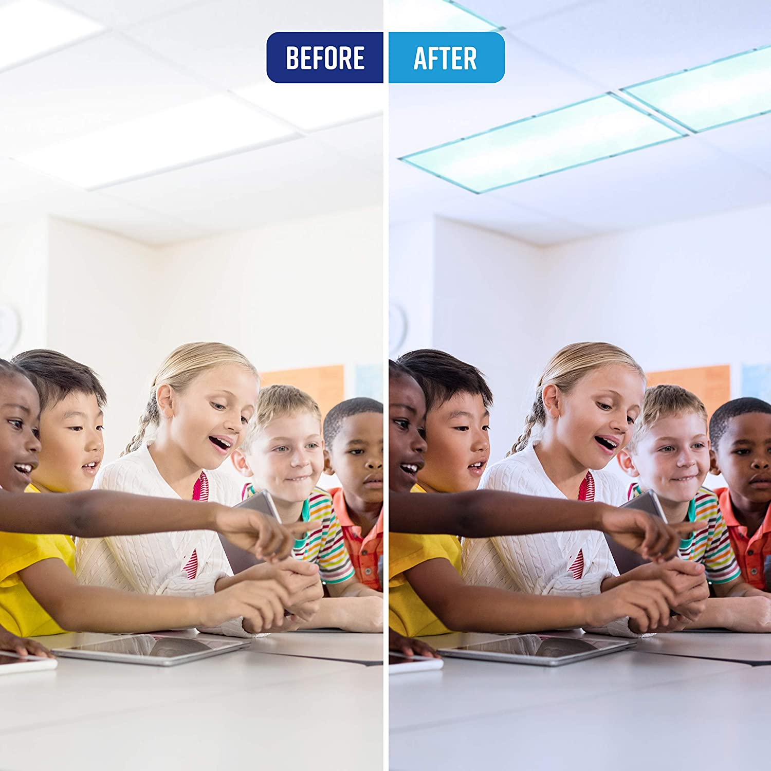 Eliminate Harsh Glare That Causes Eyestrain and Headaches at Work and School While Improving Focus and Classroom Management. 10 Pack; Blue Color GlareShade Fluorescent Light Filter Diffuser Covers