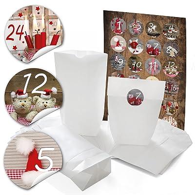 """'96Noël blanches papier Sacs (14x 22x 5,6cm) Cycle et 96cm """"calendrier de l'avent chiffres 4autocollants Stickers Bricolage; Qualité 1A 1à 24pou"""