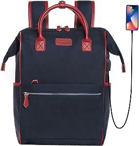 Desanissy Women Laptop Back Pack Womens Backpack for Work Backpack for Women Travel Carry On Travel Backpack School backpack USB Port Suitable for Women/Men Water Repellent Nylon Business Bag