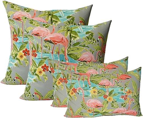 Set of 4 Indoor Outdoor Pillows – 17 Square Throw Pillows 11 x 19 Rectangle Lumbar Decorative Throw Pillows – Waverly Elegant Tropical Platinum Flamingo – Grey, Aqua, Green, Coral