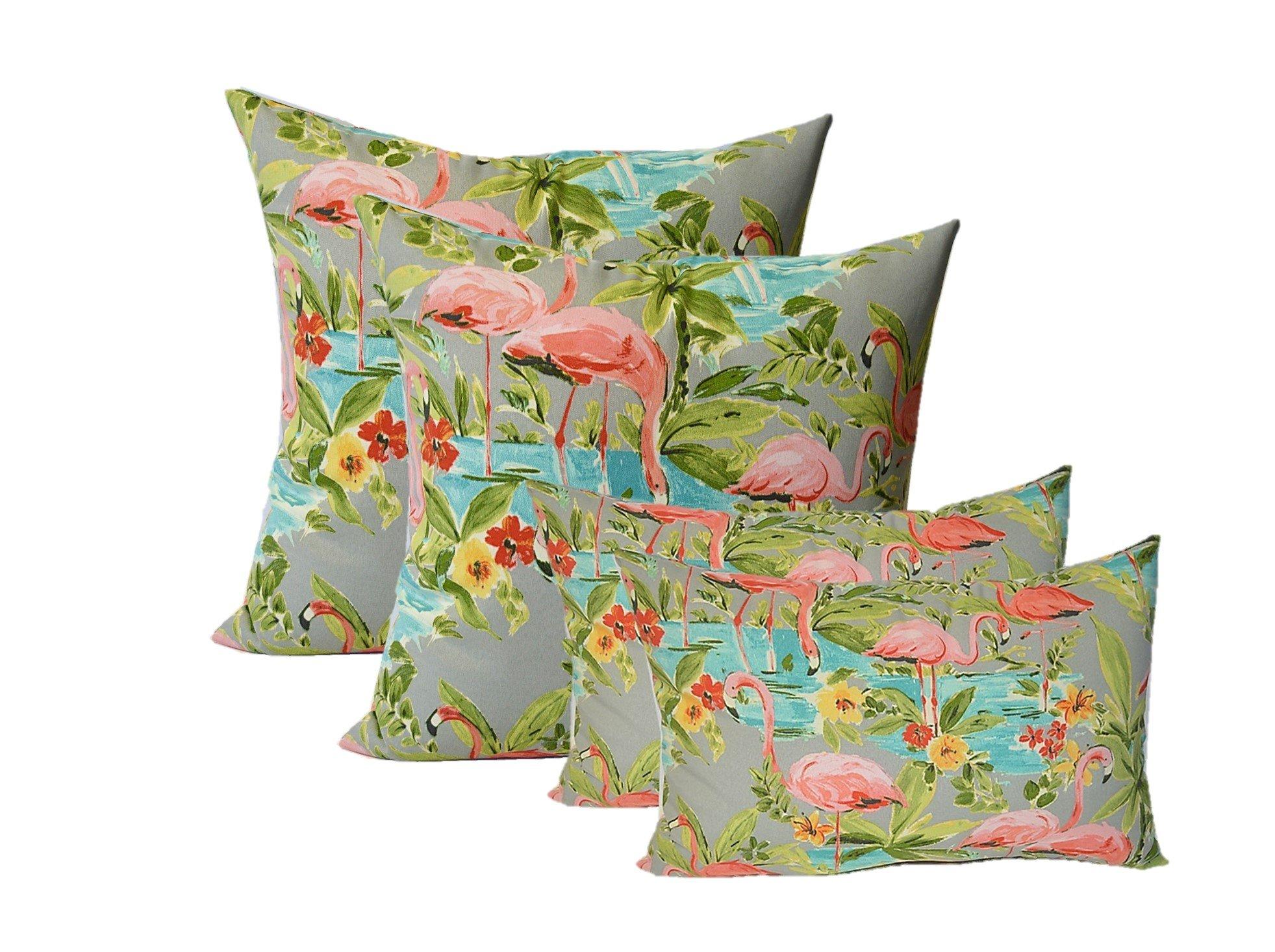 Set of 4 Indoor / Outdoor Pillows - 17'' Square Throw Pillows & 11'' x 19'' Rectangle / Lumbar Decorative Throw Pillows - Waverly Elegant Tropical Platinum Flamingo - Grey, Aqua, Green, Coral