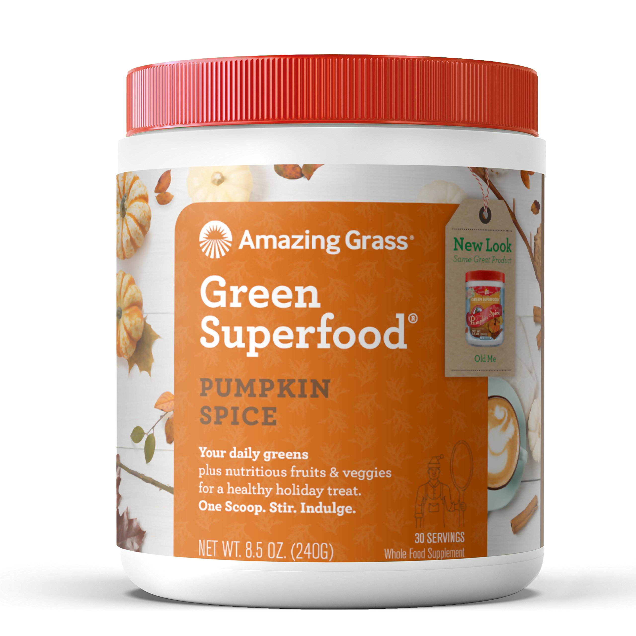 Amazing Grass Green Superfood Organic Powder with Wheat Grass and Greens, Flavor: Pumpkin Spice, 30 Servings