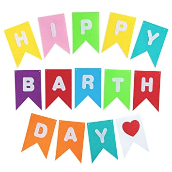 amazon com colorful happy birthday banner bunting pennants with