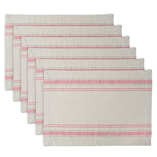 Christmas Tablescape Décor - Red French stripe cotton placemats - Set of 6