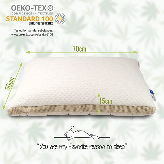 Vitapur para Dormir de Lado Almohada con Fibra de cáñamo - Cannabis Cojín Acolchado con tecnología innovadora Airflow - Extra Suave, 50 x 70 cm: Amazon.es: ...