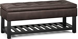 SIMPLIHOME Cosmopolitan 44 inch WideTraditional Rectangle Storage Ottoman Bench with Open Bottom in Distressed Brown Faux Leather, for Living Room, Bedroom