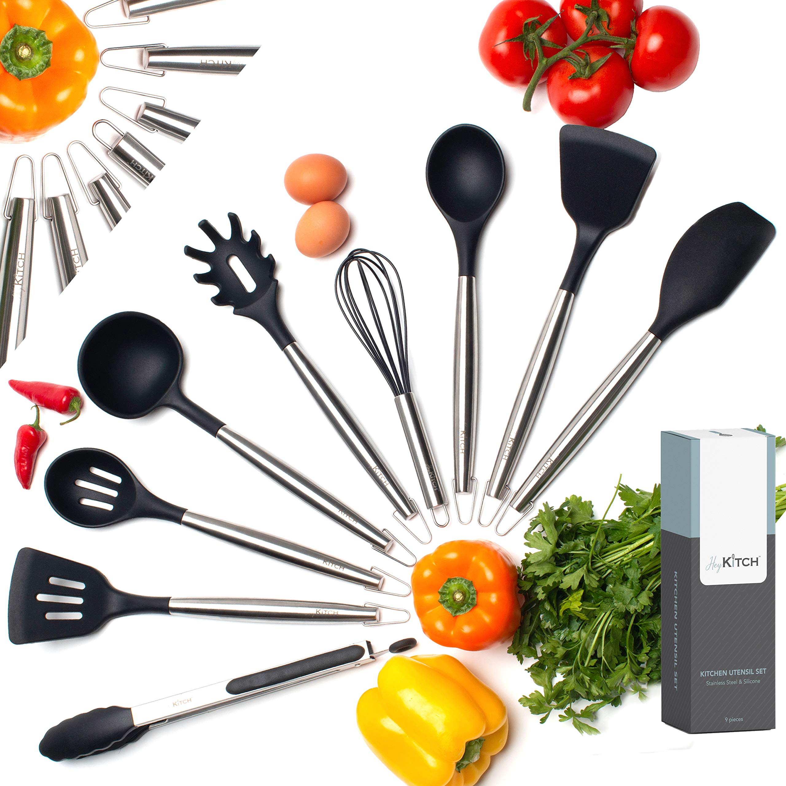 HeyKITCH Kitchen Utensil Set - 9 Piece Black Utensil Set - Stainless Steel & Silicone Utensil Set - Non Scratch & Heat Resistant Spatulas, Cooking Spoons, Whisk, Tongs - Kitchen Tools and Gadgets by HeyKITCH