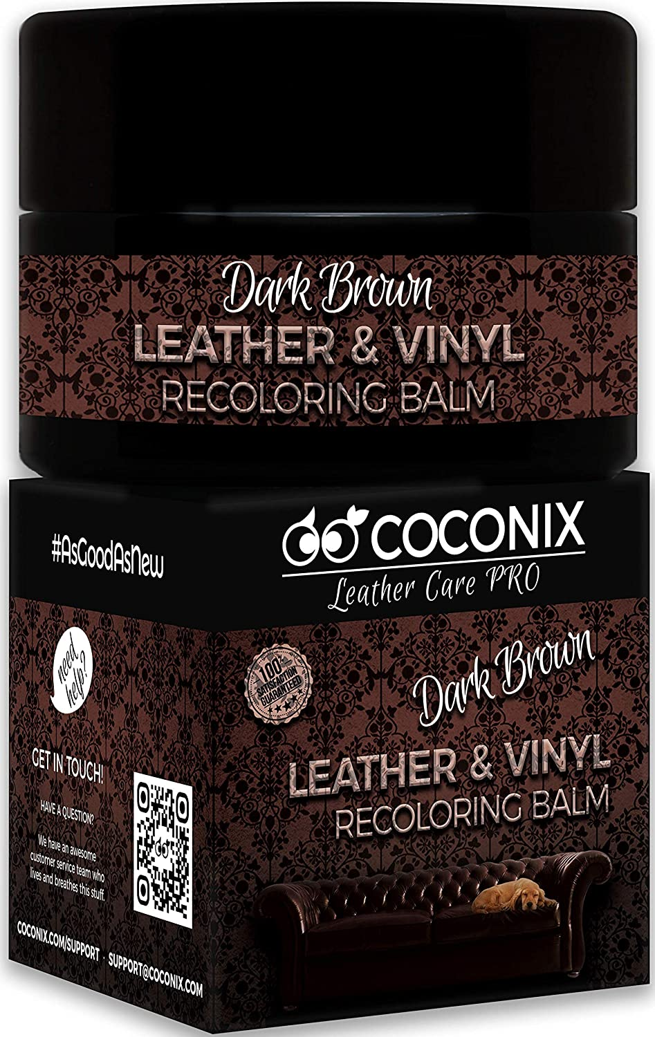 Coconix Leather Recoloring Balm Dark Brown - Recolor, Renew, Repair & Restore Aged, Faded, Cracked, Peeling and Scuffed Leather & Vinyl Couches, Boat or Car Seats, Furniture 8 oz