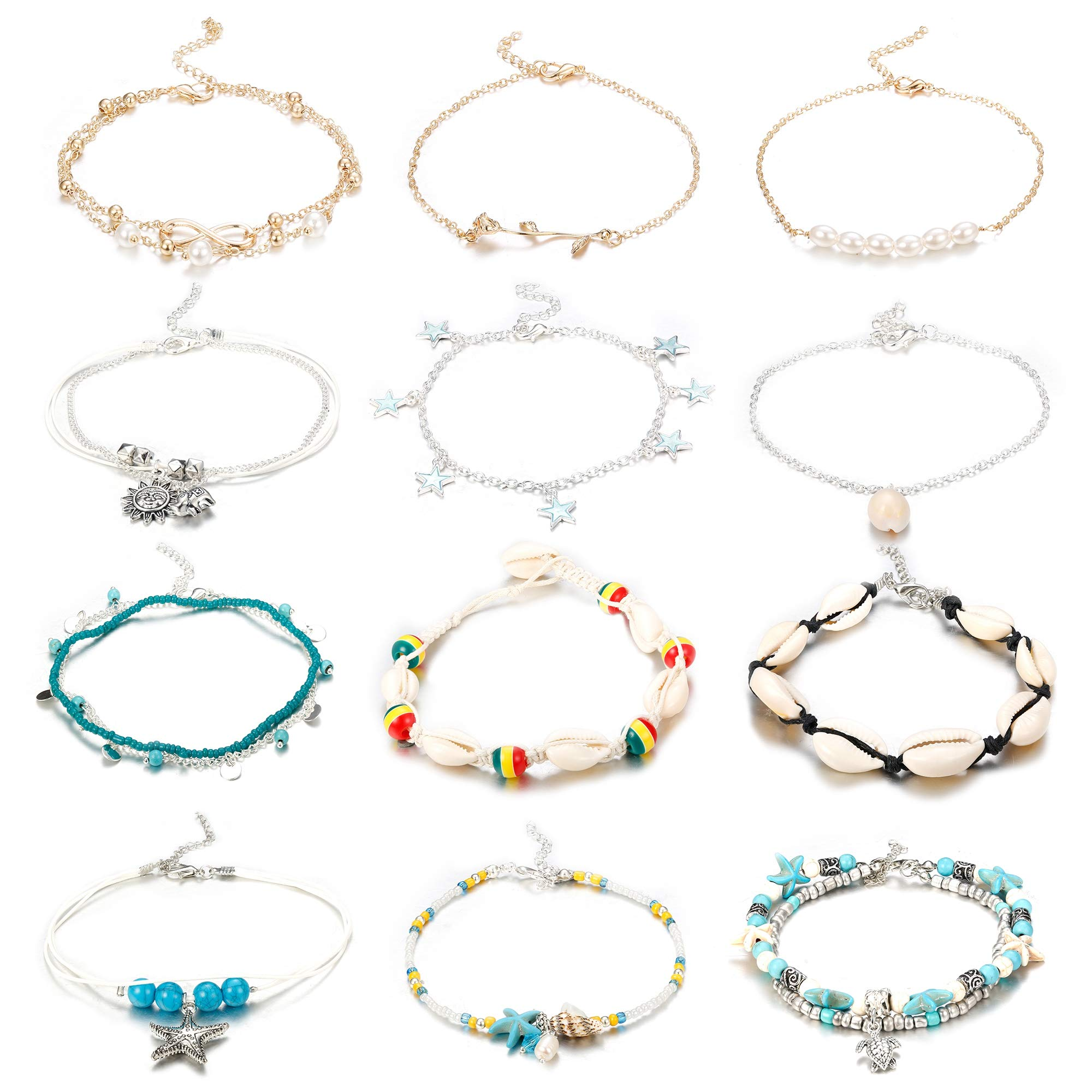Finrezio 12PCS Anklets for Women Girls Blue Starfish Turtle Elephant Charm Ankle Bracelets Multilayer Gold Silver Plated Foot Jewelry Handmade