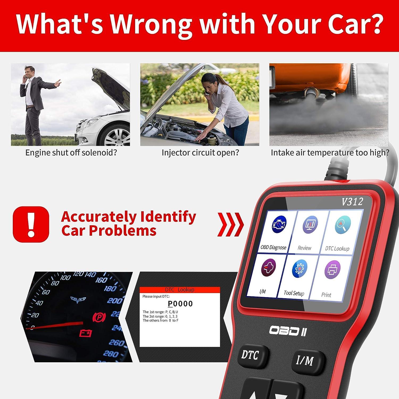 OBD2 Diagnoseger/ät Auto Fahrzeug Fehlercodeleser OBD II Diagnose Scanner arbeitet an Allen Autos mit OBD2//EOBD//CAN-Modi mit 16-Pin OBDII-Schnittstelle f/ür Lesen und L/öschen Fehlercode//Batterie Test
