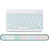 Backlit Bluetooth Keyboard, Portable Slim Wireless Keyboard with 7-Color Backlit, Rechargeable Bluetooth Keyboard…
