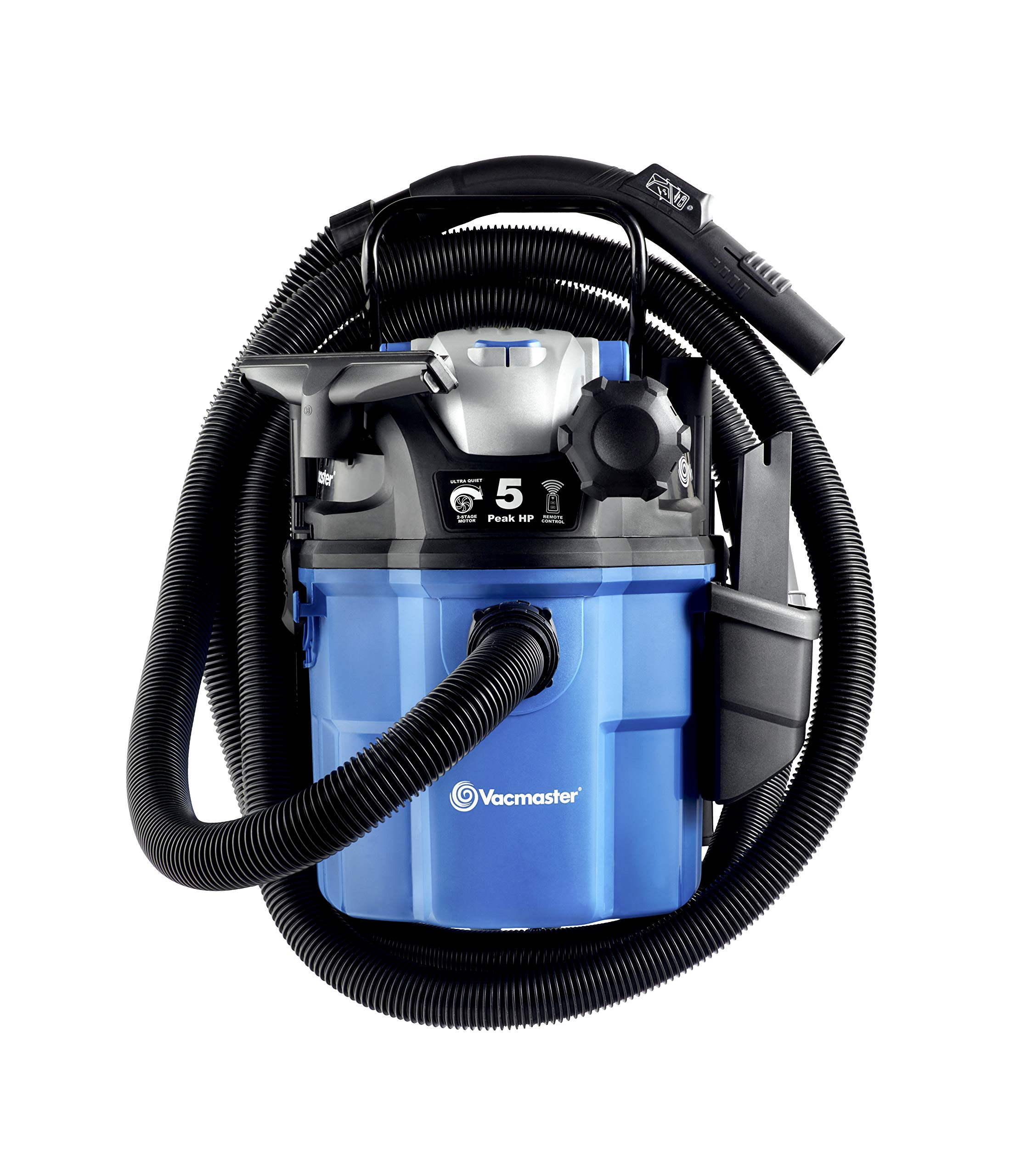 Vacmaster 5 Gallon, 5 Peak HP, with 2-Stage Motor, Wet/Dry Vacuum, Wall Mountable and with Remote Control by VACMASTER