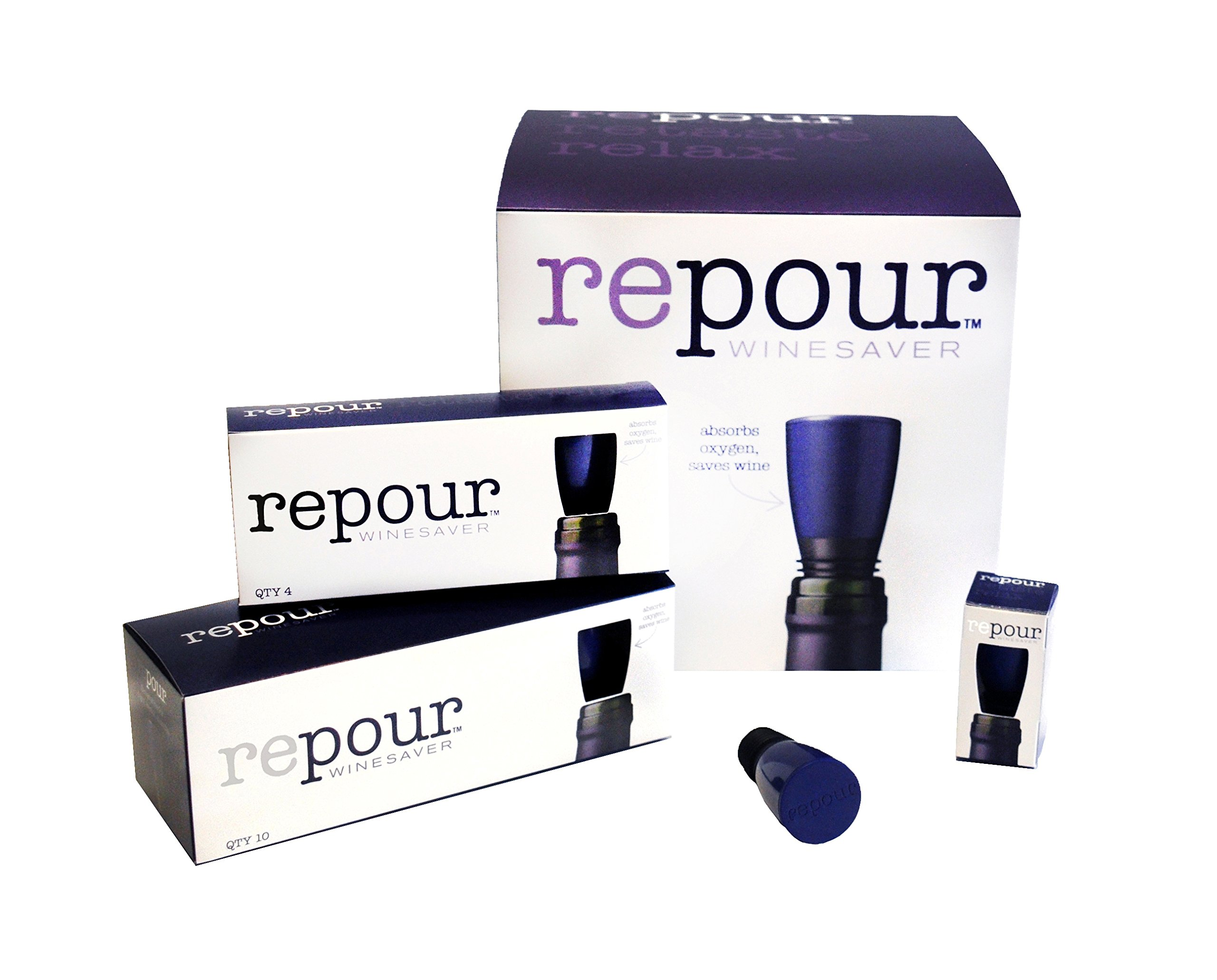 Repour Wine Saver - Wine Preserver and Stopper, Removes harmful oxygen from your wine, simply and effectively,Indigo Blue,10 Pack