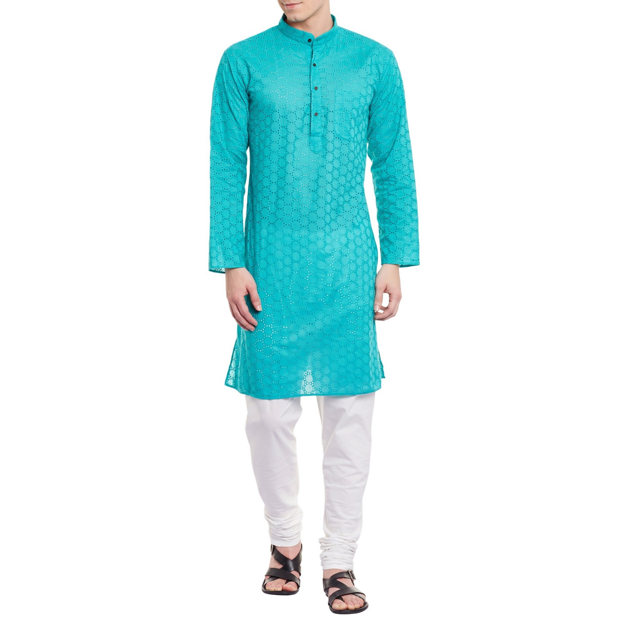 Mens Embroidered Cutwork Cotton Kurta With Churidar Pajama Trousers Machine Embroidery,Turquoise Chest Size: 34 Inch