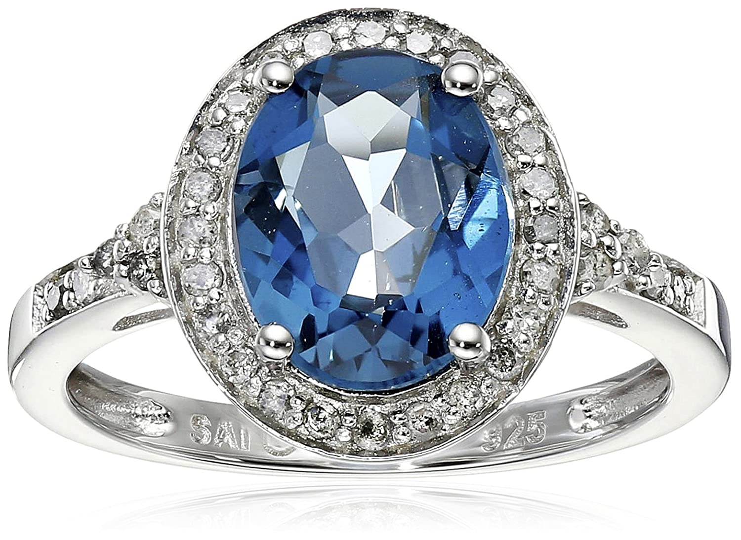 ebay in natural gold diamond blue swiss ct and itm topaz ring