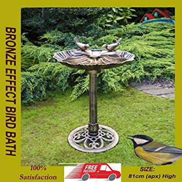 New Bronze Effect Bird Bath Oyster Shell Shape Polyresin Table Freestanding Pedastal