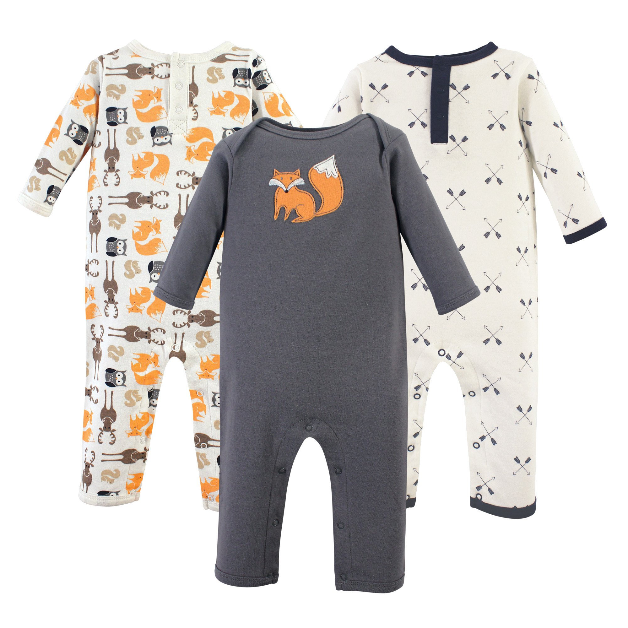 Hudson Baby Baby Cotton Union Suit, 3 Pack, Forest, 9 Months