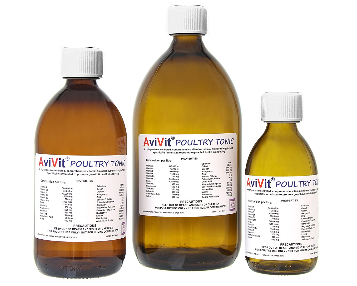 AviVit® - High Spec Concentrated Poultry Vitamin-Mineral Tonic - 3 Sizes (Standard (250ml)) LEE-WOOLF LTD