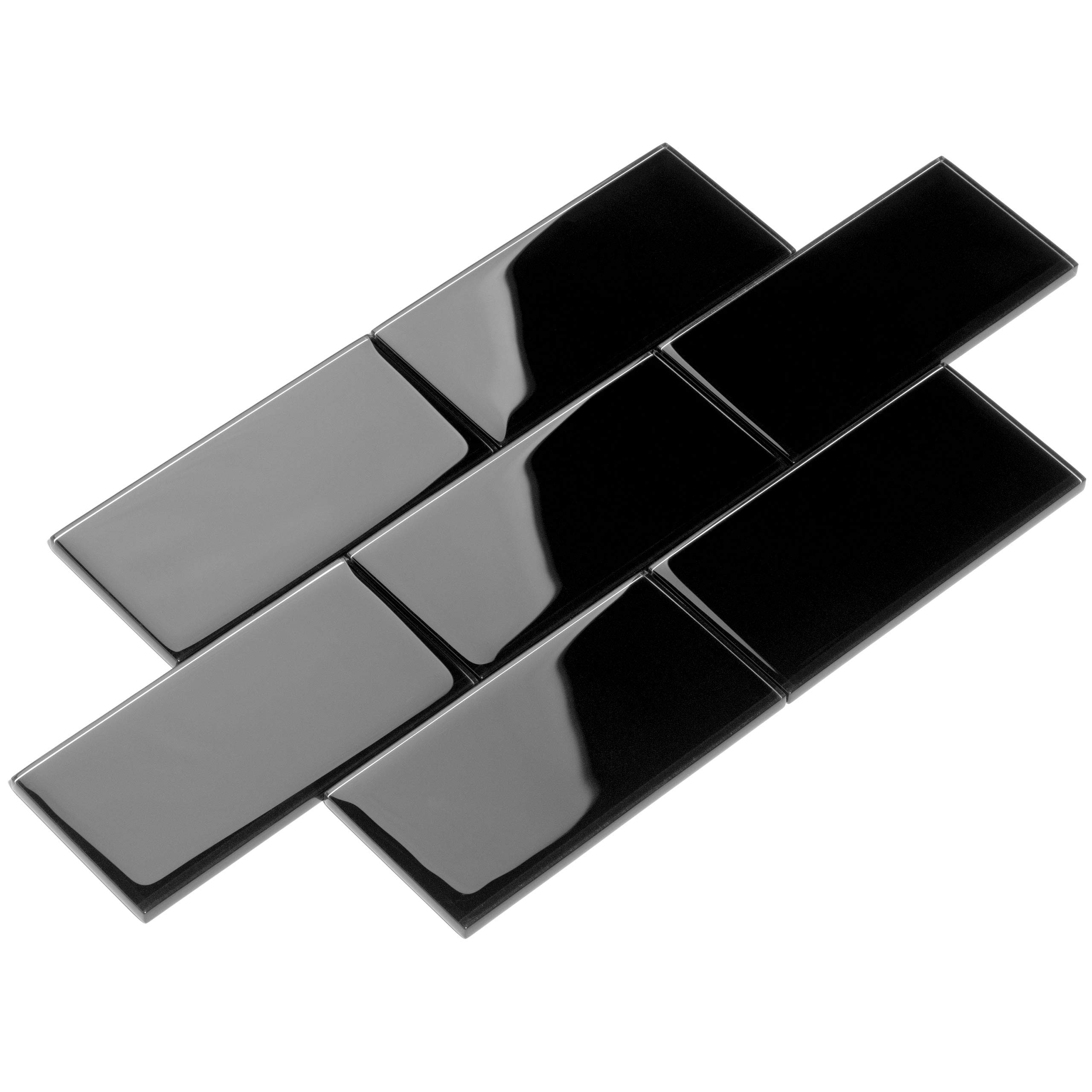 Giorbello Glass Subway Backsplash Tile, 3 x 6, Black, 2 Sq Ft by Giorbello