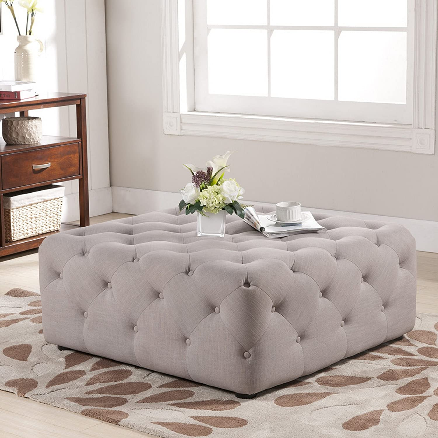 Amazon baxton studio teague linen modern tufted ottoman amazon baxton studio teague linen modern tufted ottoman beige kitchen dining geotapseo Images