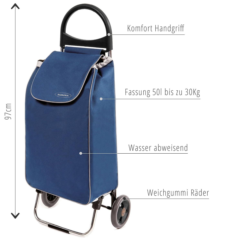 Leichter Transport-Wagen Trolley 1,5kg mit leisen Gummi R/ädern Einkaufsroller mit 50l bis 30kg belastbar Einkaufstrolley Zussi in blau