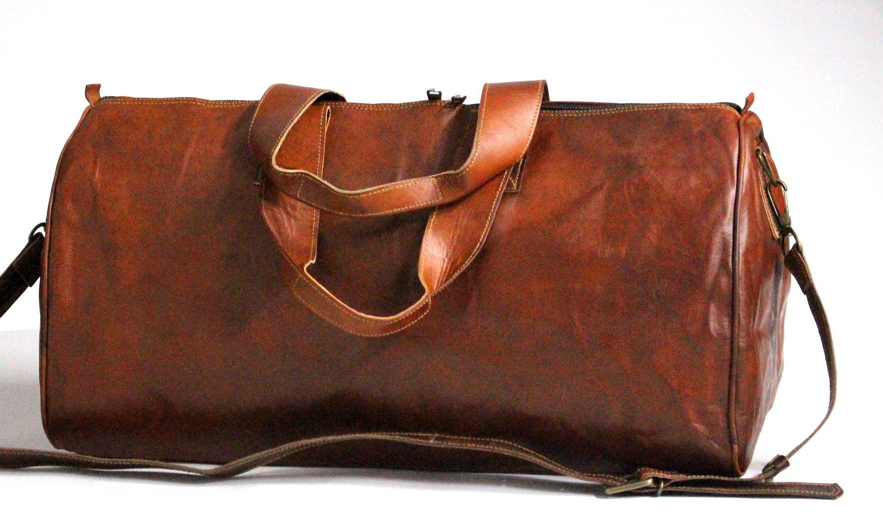 LUST Unisex Handmade Real Leather Duffel Bag Weekend Bag Tan Brown Duffle Bag