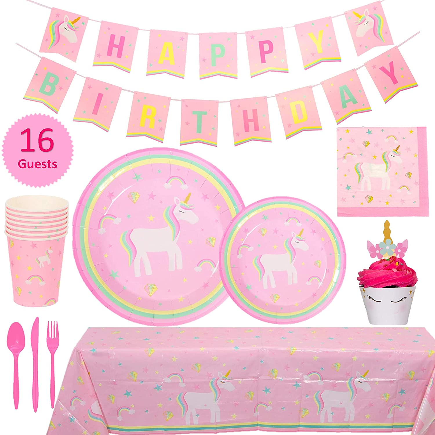 Amazon My Greca Unicorn Party Supplies Set 16 Guests Rainbow Pink Pastel Theme For Girls And 1st Birthday Decorations Toys Games