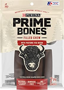 Purina Prime Bones Natural Dog Treats Made in USA Rawhide Free Pasture-Fed Bison Filled Chew