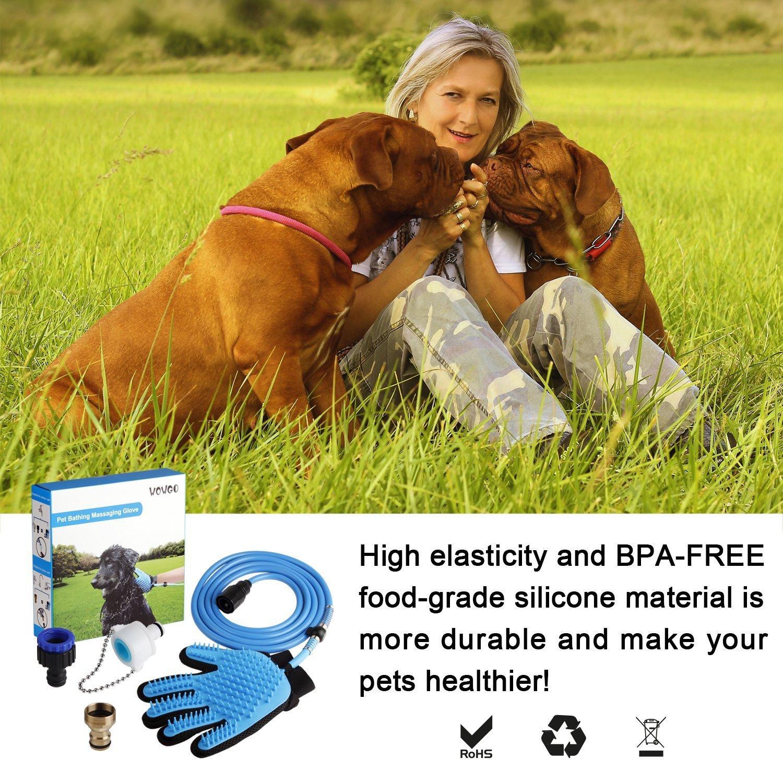 WOWGO 2018 NEU Haustier Baden Dusche Duschhandschuh Hundedusche - Reinigungs-Handschuh mit 3 Wasserhahn-Anschlüssen für Hunde Katzen Pferde für Drinnen und im Freien