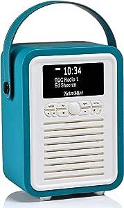 VQ Retro Mini DAB+ Digital Radio with AM, FM, Bluetooth & Alarm Clock - Electric Blue