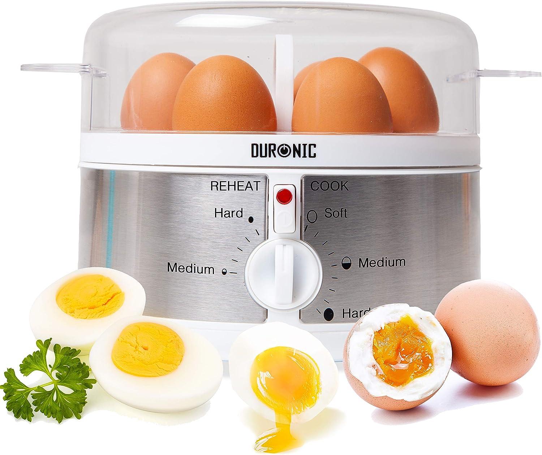 Duronic EB35 Cocedor de Huevos Eléctrico 350W con Capacidad de 1 a 7 Huevos Cocidos, Duros, Mollet y Pasados por Agua, 2 Tipos de Huevos a la Vez
