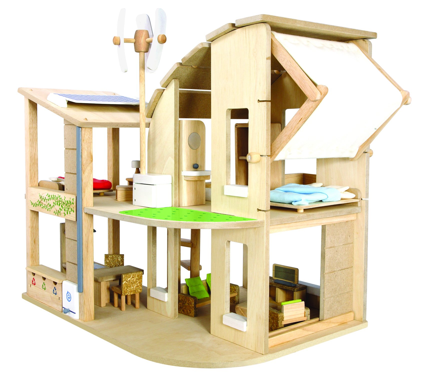 Plan Toys The Green Dollhouse with Furniture