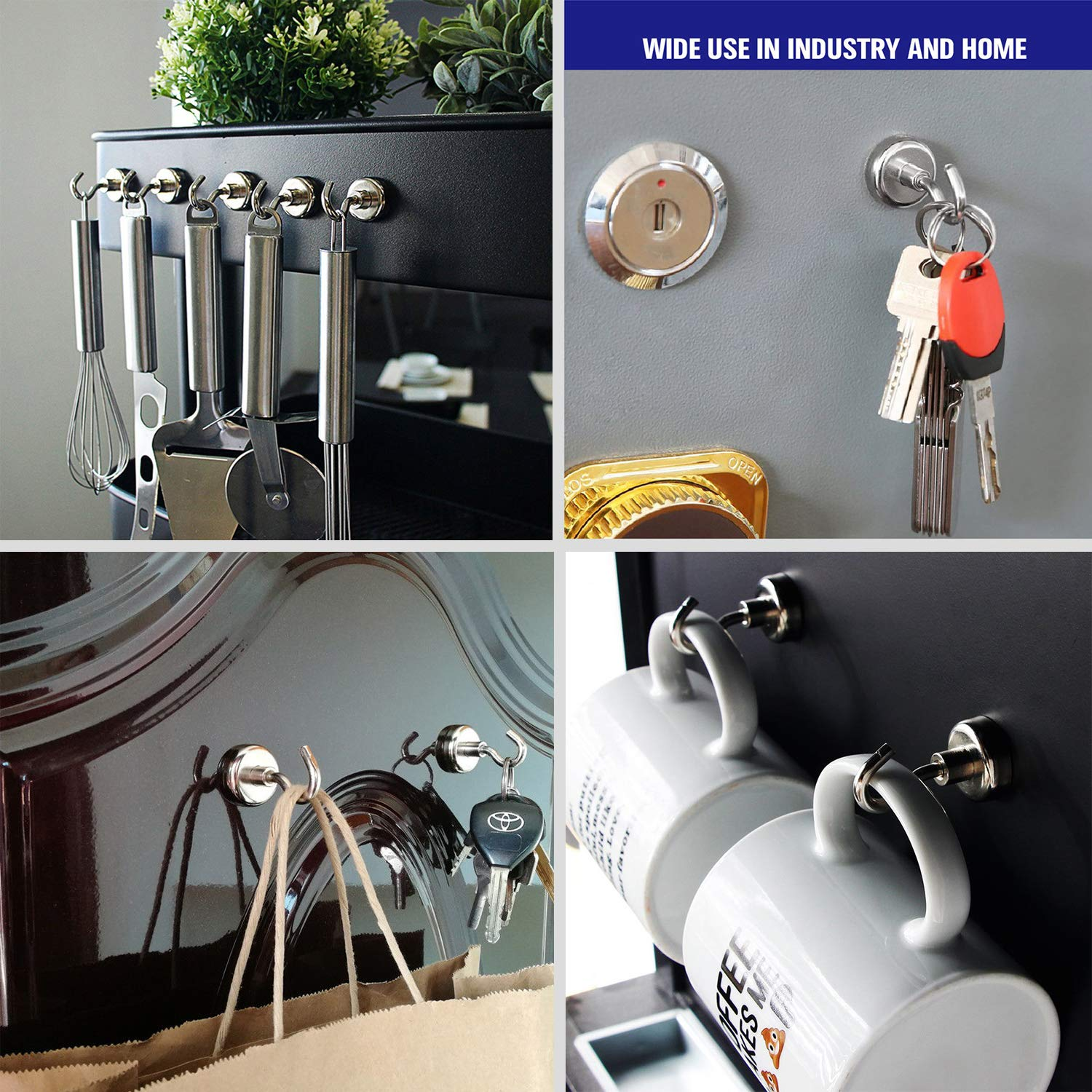 Pack of 28 MIKEDE Magnetic Hooks Powerful 22LBS Heavy Duty Neodymium Magnets Indoor Outdoor Hook Magnets Hanging Super Strong Magnet Hooks